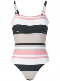 Neutral Bold Stripe Classic One Piece