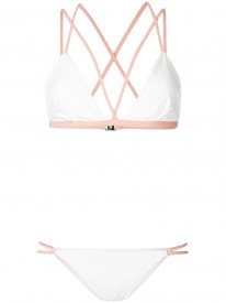 Ivory / Dusty Pink Triangle Bikini Top and Strap Side Bikini Brief