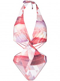 Paradise Print Cut Out Swimsuit