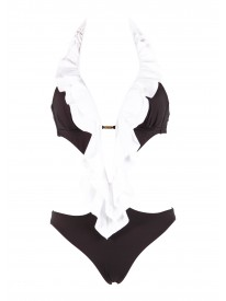 Pippa Black & White Cut out Swimsuit