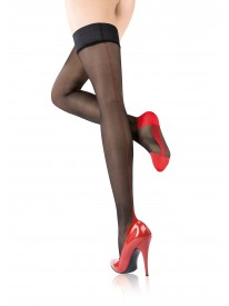 Agnes Couture Bicolore Black & Red Seamed Hold-ups