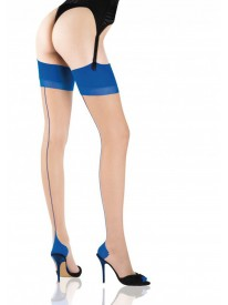 Seduction Couture Bicolore Nude/Blue Seamed Stockings