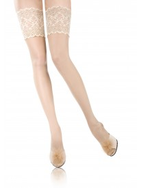 Rive Gauche Ivory Luxe Silk Lace Top Hold-ups