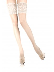 Rive Gauche White Luxe Silk Lace Top Hold-ups