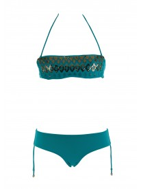 Turquoise Bandeau Top and string bottoms