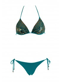 Triangle Turquoise  Bikini Top and bottoms.