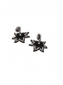 Black Petal Lace Earings