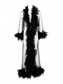 Boudoir Black Feathered Robe