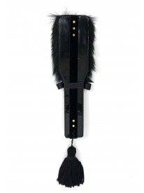 Noir Fur & Leather Paddle