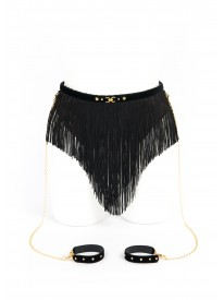 Noir Black Tassel Skirt with Cuffs
