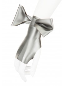 Silver Latex Bow Mittens