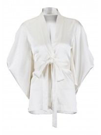 Ivory Butterfly Silk Kimono Short Gown