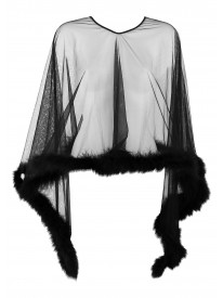 Black Sheer Fur Poncho