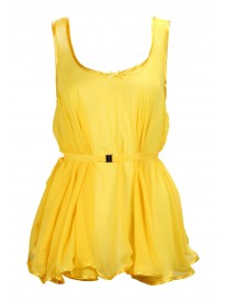 Yellow Trapeze peplum Top
