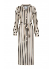 Neutral Twin Stripe Long Sleeve Shirt Dress