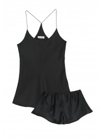 Bella Jet Black Silk Camisole Set