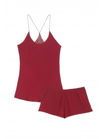 Bella Raspberry Silk Camisole Set