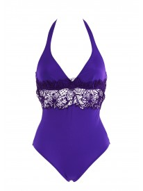 Purple Crochet Halterneck Swimsuit