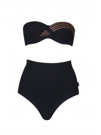 Noir Bandeau High-waisted Bikini