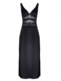 Rive Gauche Black Silk Nightgown